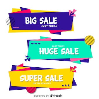 Geometric sale banner collection