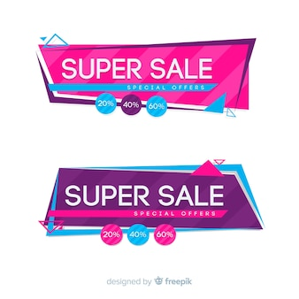Geometric sale banners
