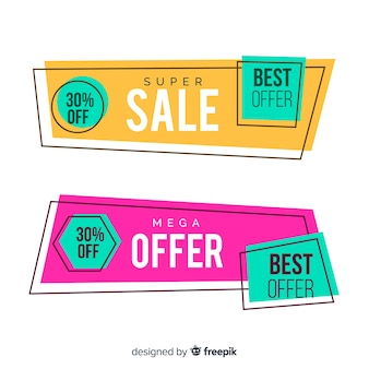 Geometric sales banner pack