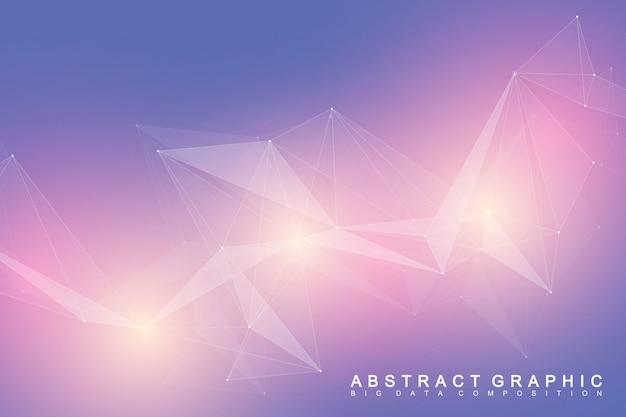 Молекула геометрического научного фона и коммуникации. большой комплекс данных с соединениями. визуализация цифровых данных. минималистичный хаотичный дизайн