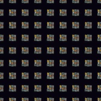 ダッシュと幾何学的なシームレスな抽象的なパターン。黒の背景に暗い小さな飾り。