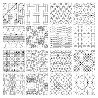 幾何学的なシームレスな背景。縞模様のグラフィックテクスチャ、迷路の装飾的なパターン、幾何学的な背景。抽象的な背景イラストセット。幾何学的な菱形とジグザグのモノクロの幾何学的な