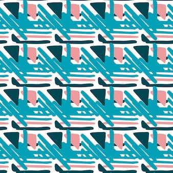 幾何学的なシームレスな手描きのフォークパターン。織り線飾り。テキスタイルや本の表紙、壁紙、デザイン、グラフィックアート、ラッピングの背景。ベクトルイラスト