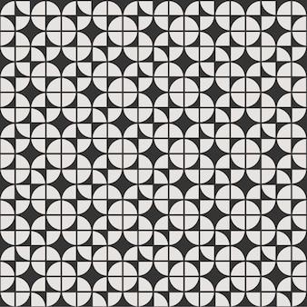 黒と白の幾何学的なシームレスパターン背景花man羅