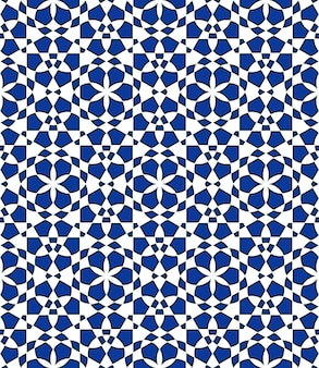 Geometric seamless pattern based on traditional islamic ornament  blue colors