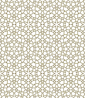 Geometric seamless pattern based on traditional islamic ornament  shapes with contours