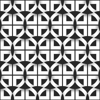 Geometric seamless pattern of black and white circles