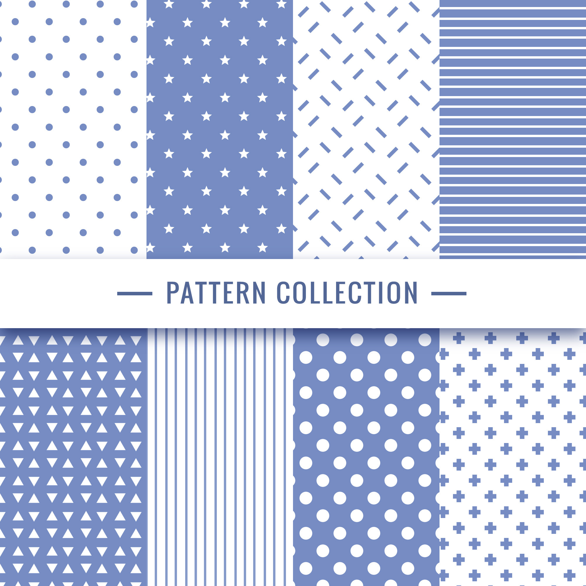 Geometric seamless pattern collection in blue colors