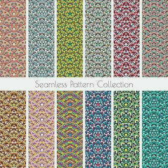 幾何学的なシームレスなパターンの収集。曼荼羅装飾テクスチャの背景、壁紙、背景のセット。