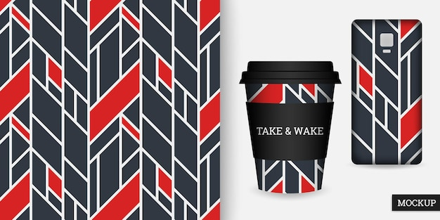Geometric seamless pattern cup and smartphone case