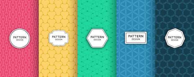 Geometric seamless pattern design set