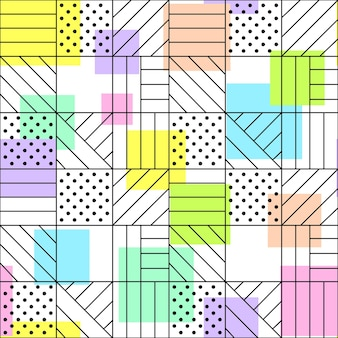 Geometric seamless pattern dots horizontal and diagonal lines intersections and colored squares