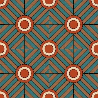 線と円でレトロなスタイルの幾何学的なシームレスパターン