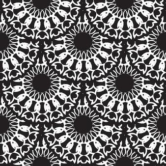 幾何学的なシームレスパターン、モロッコのタイルデザイン、シームレスな黒いタイルの背景