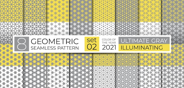 Geometric seamless pattern repeating abstract texture of ultimate gray and illuminating yellow