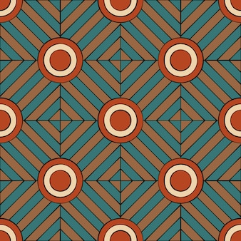 Geometric seamless pattern in retro style with lines and circles