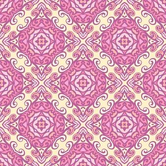 幾何学的なシームレスパターンベクトル。ダマスク花飾りのエスニック自由奔放に生きるスタイルのデザイン
