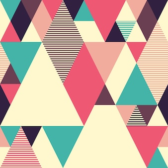 Geometric seamless pattern with colored triangles.