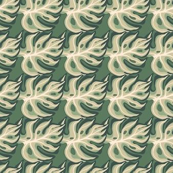 装飾的なモンステラの手描きの葉のプリントと幾何学的なシームレスパターン。