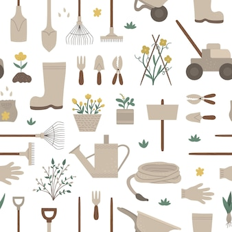 Geometric seamless pattern with garden tools