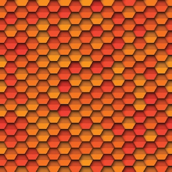 Geometric seamless pattern with paper cut realistic hexagonal elements in yellow orange and red colors