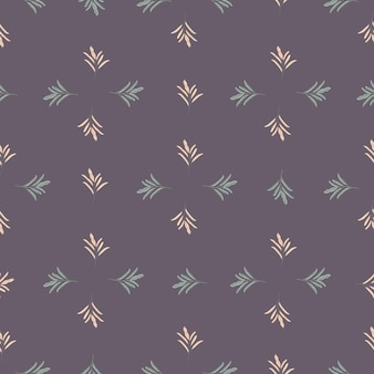 Geometric seamless pattern with simple floral leaf branches silhouettes print.