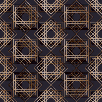 黒の背景に黄金の輪郭線で描かれた正方形の幾何学的なシームレスパターン。抽象的な背景。包装紙、テキスタイルプリントのエレガントなアールデコスタイルのイラスト。