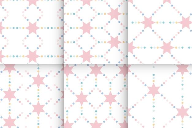 Геометрический бесшовный образец со звездами и точкой