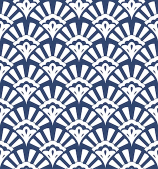 Geometric seamless pattern with stylized shells