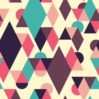 Geometric seamless pattern with triangles and semicircles.
