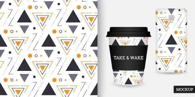 Geometric seamless pattern with triangles and circles