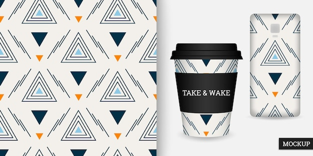 Geometric seamless pattern with triangles, cup and smartphone case