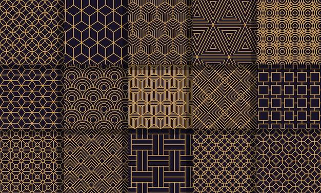 幾何学的なシームレスパターン。グラフィックスタイルストライプテクスチャ、ヴィンテージの迷路パターン、幾何学的なストライプの飾りセット。幾何学的な背景、グラフィックのシームレスな抽象的なパターン図