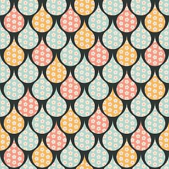 Geometric seamless raindrop pattern with flowers