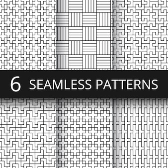 Geometric seamless vector patterns set. modern line repeat graphics with simple geometrical shapes