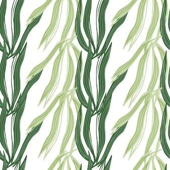 幾何学的な海藻のシームレスなパターンは、白い背景で隔離。海洋植物の壁紙。水中の葉の背景。生地、テキスタイルプリント、ラッピング、カバーのデザイン。ベクトルイラスト。