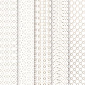 원활한 금색과 흰색 패턴의 기하학적 세트