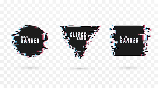 Geometric shape banner with distortion effect - glitch. digital technology modern poster and flyer template. isolated on transparent background