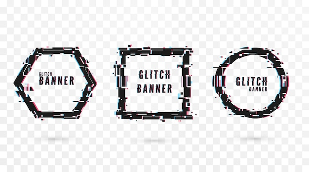 Geometric shape banner with glitch effect. digital technology modern poster and flyer template. isolated on transparent background