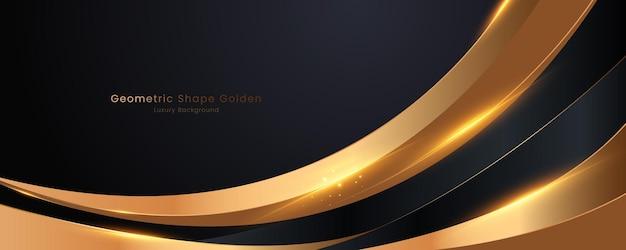 Геометрическая форма черный и золотой роскошный фон