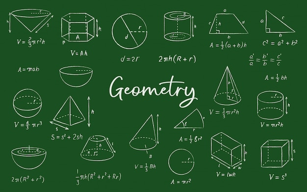 Geometric shape chalk sketches on blackboard