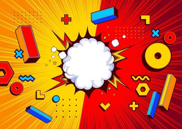 Geometric shape comic templat background  design, pop art illustration.