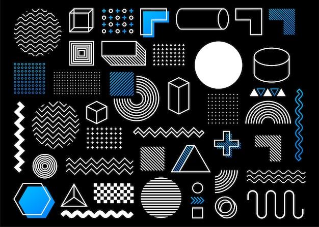 Геометрическая форма в винтажном стиле. яркий цвет. набор черных абстрактных геометрических фигур