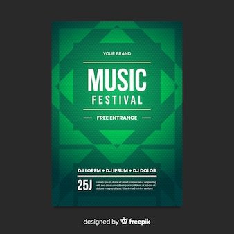 Geometric shape music poster template