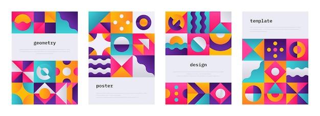 幾何学的形状のポスター。スイスの幾何学的構成のメンフィスジャーナルカバー、抽象的なバウハウスの形をしたバナーチラシ。ベクトル幾何学的なカラフルなパターンまたは壁紙セット