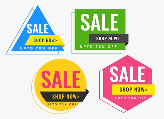 Geometric shape sale banners in many colors