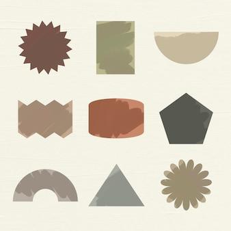 幾何学的形状ステッカー、アースカラーフラットクリップアートセットベクトル