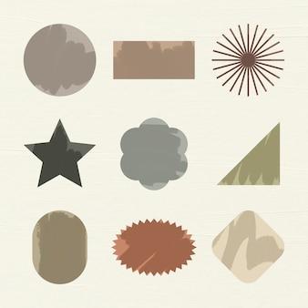Наклейка геометрической формы, плоский цвет тона земли клипарт набор векторных