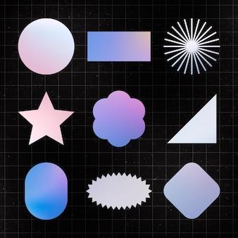 Geometric shape sticker, holographic pastel color flat clipart set vector