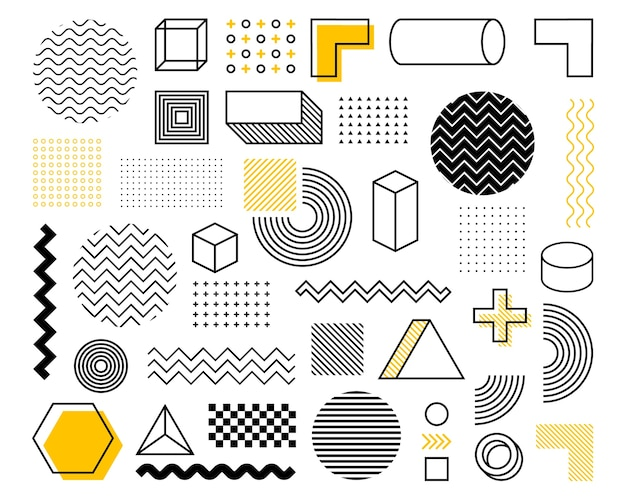 Geometric shape in vintage style. bright color. black abstract geometric shapes set